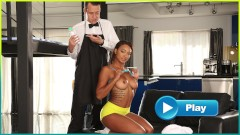 BANGBROS – Young Ebony Pornstar Makes Her Butler's Day By Fucking Him