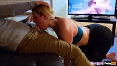Caught Watching Porn! Fit Slut Finishes Him Off
