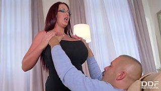 Busty Doctor Emma Butt swallows client's fat cock until he cums